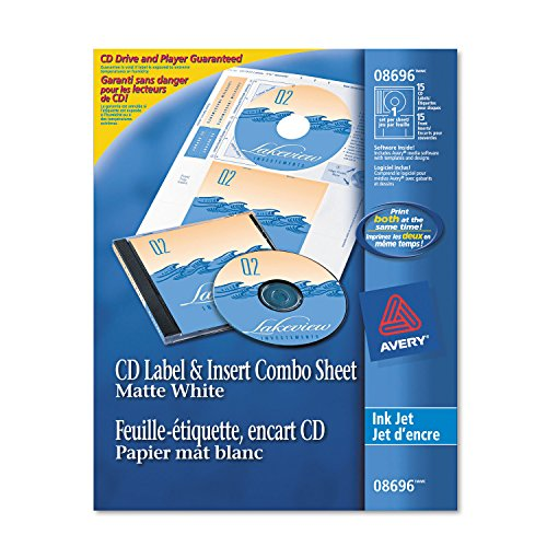 Avery CD/DVD Label/Jewel Case Insert Combo Sheets, Ink Jet, 20 Labels & Inserts/Pack (Jewel Case Inserts Pack)