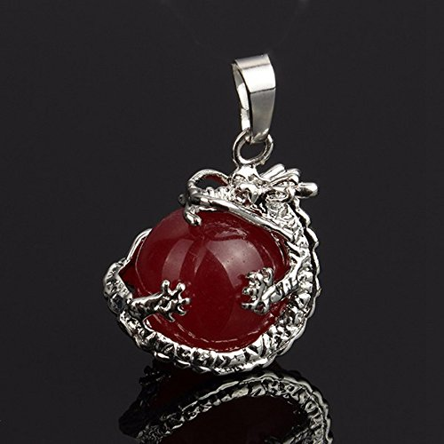 jennysun2010 Natural Red Agate Gemstone Dragon Round Ball Reiki Chakra Healing Pendant Necklace Beads 1 Piece per Bag for Necklace Earrings Jewelry Making Crafts Design