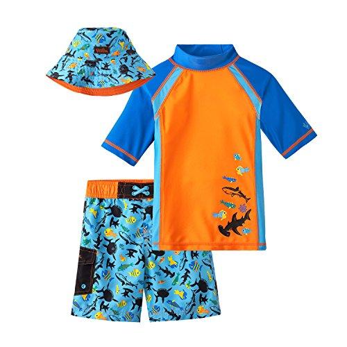 UV SKINZ UPF 50+ Boys 3-Piece Swim Set - Orange Sharks - (3 Piece Set Hat)