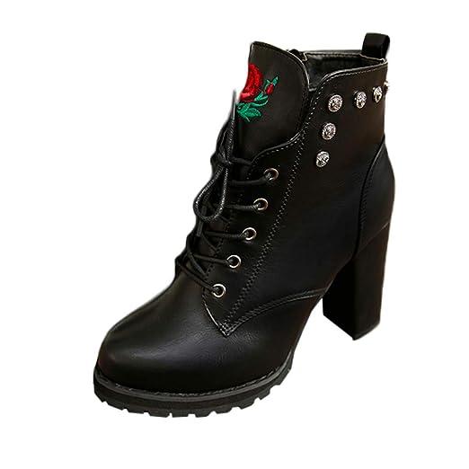 ❤ Botas de Invierno de Mujer talón, Plataforma de Dedo del pie Mujeres Retro Toe Cremallera Color sólido tacón Grueso Martin Boots otoño Invierno ...