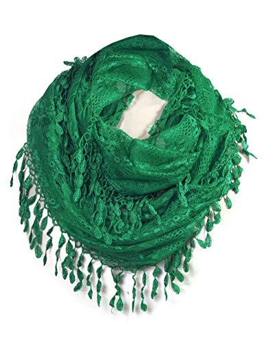 Scarfand's Delicate Lace Infinity Scarf with Teardrop Fringes (Kelly Green)