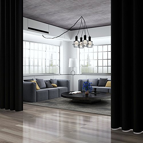 Rose Home Fashion RHF Room Divider Curtain&Wide Thermal Blackout Patio Door Curtain Panel, Sliding Door Insulated Curtains Antique Bronze Grommet Top 100W by 84L Inches-Black