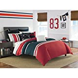 3 Piece Yacht Coastal Motif Duvet Cover King Size, Featuring Sports Surfing Sailing Design, Color Block Striped Bedding, Nautical College Dorms Reversible Themed, Classic Spinnaker, Red, Navy, White