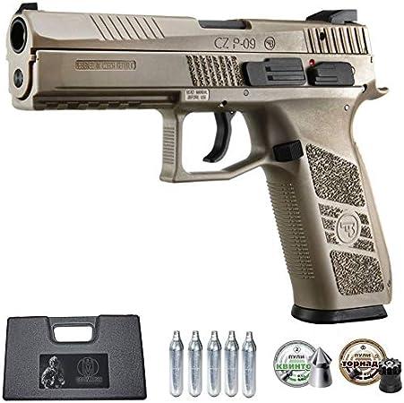 Ecommur. CZ P-09 blowback-ASG FDE   Pistola de Aire comprimido y perdigones semiautomática 4,5mm + maletín + 2 Cajas de balines y CO2