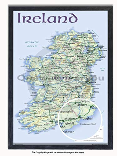 Framed - Ireland Map - Matt Laminated - Push Pin Memo Notice Board - Black Driftwood Effect - Includes Free Pins - Measures 96.5 x 66 cms (38 x 26 Inches - Approx) ()