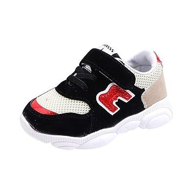 c825812a629a7 GongzhuMM Coloblock Lettre Baskets Basses Mixte Enfant Fille Garcon Mode  Chaussures Bebe Maille Respirant Sneakers Premier