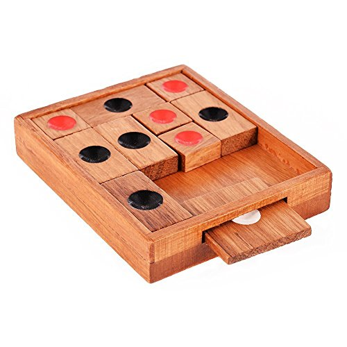 | Math Toys | 1 piece Wooden Sliding Block Puzzle.Handmade Wooden PuzzlesA Classic 3d Wooden Brain Teaser with a An Advanced Klotski Puzzle for Adu by GonPi