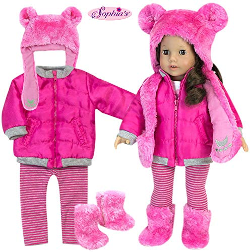 Sophia's Doll Clothes 4 Pc. Set of Pink Polar Bear Hat, Boots, Fuchsia Jacket & Matching Leggings 18 Inch Doll Winter Outfit: 4 Pc Fuchsia Doll Coat, Leggings, Polar Bear Doll Hat & Boots