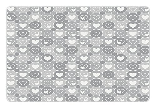 Grey Pet Mats for Food and Water by Lunarable, Geometrical Hearts and Figures Happiness and Love Symbol Romantic Valentine Happiness Flat, Rectangle Non-Slip Rubber Mat for Dogs and Cats, White