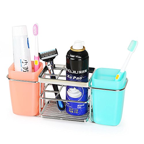K-Steel Toothbrush Toothpaste Stand Holder with 2 Cups Bathroom Storage Organizer Suction Cup Toothbrush Holder Organizer Chrome Suction Cup Toothbrush Holder