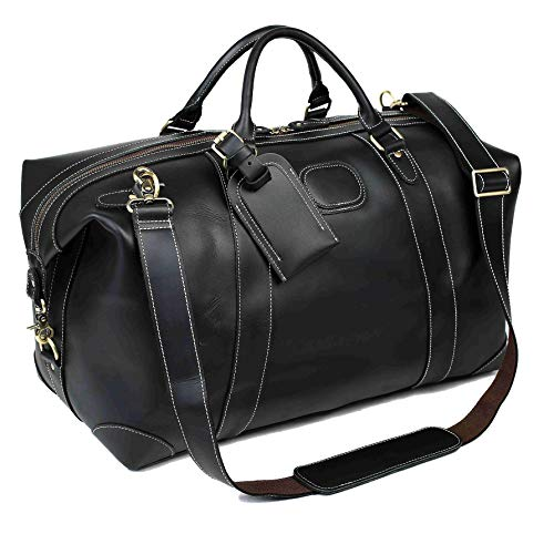 ROCKCOW Vintage Leather Duffel Travel Gym Sports Overnight Weekend Bag Holdall