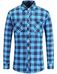 Men's Flannel Plaid Checkerd Long Sleeve Button Down Shirts