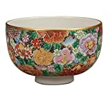 Kutani Pottery Matcha (Japanese Green Tea) Bowl Colorful flowers K4-853 from Japan