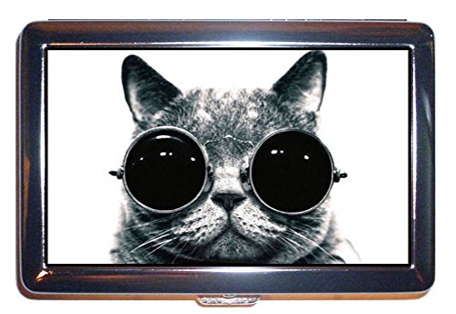 Cat Steampunk in Goggles, Great B&W Photo: Stainless Steel ID or Cigarettes Case (King Size or 100mm)