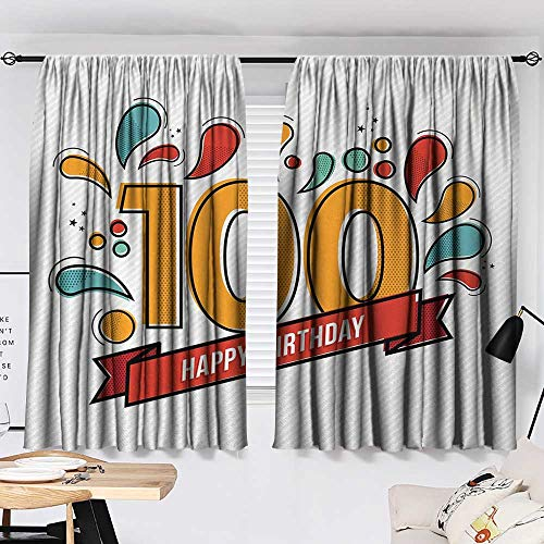 100th Birthday Curtain for Living Room Grannies Lived for Centuries 100 Birthday Party Growing Old Digital Image Modes Darkening Curtains Multicolor W55 x L39 by Jinguizi (Image #1)