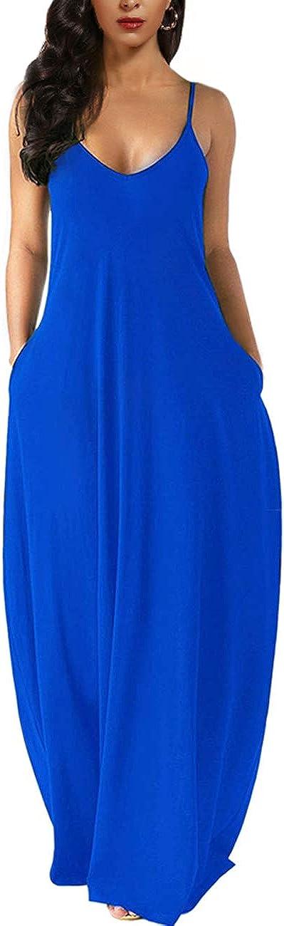 Wolddress Womens Casual Sleeveless Plus Size Loose Plain Long Maxi Dress with Pocket