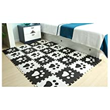 Menu Life 10pcs Black and White Children Kids Baby Soft EVA Foam Activity Play Mat Playroom Floor Tiles Pop-out Jigsaw Puzzle Mat (Black and White Paws)