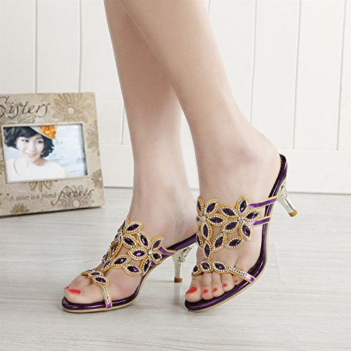 Women's Heel Buckle for Evening Open Glitter Rhinestone Club Party A Sandals Leather Wedding Mid Chain Rhinestone Summer Toe amp; Shoes pp01rgx