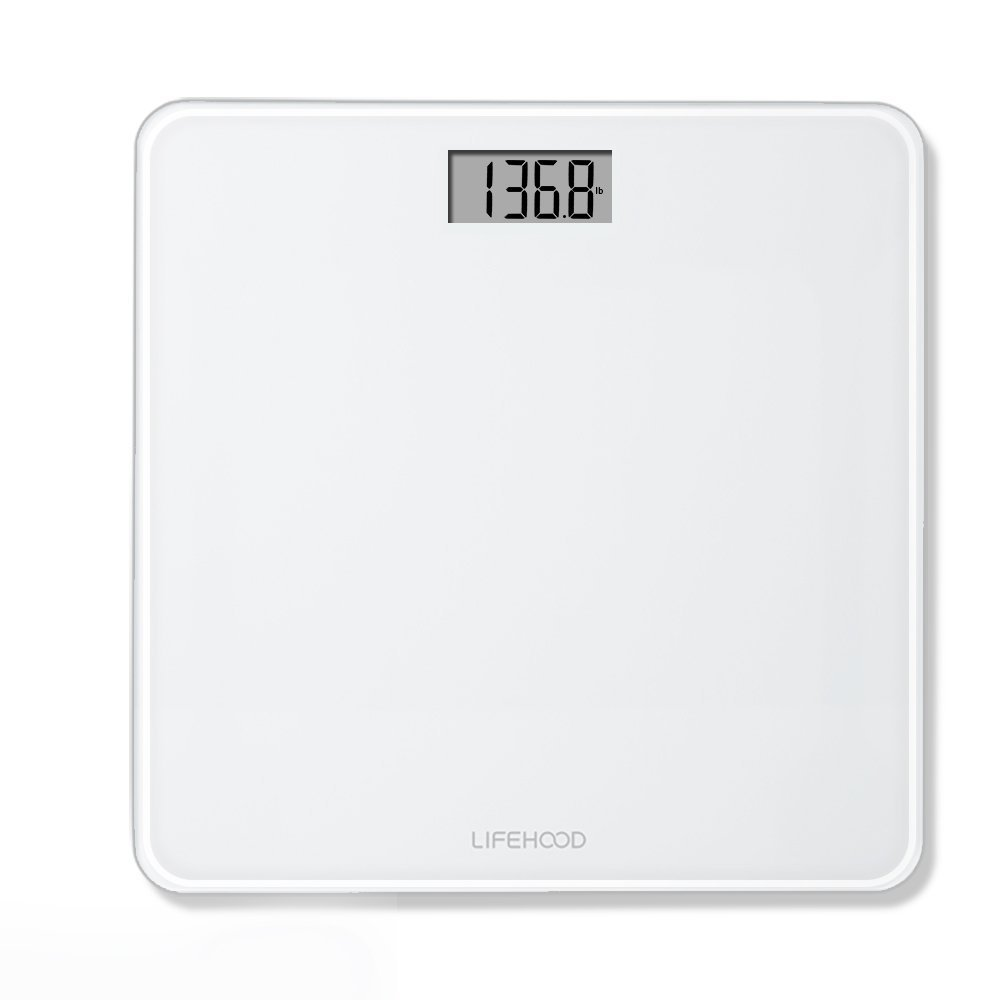 Scales for Digital Weight – 4 High Precision Sensors Body Weight Scale with Step On & Auto Calibrated & Auto ON/OFF Technology, Wide Sturdy Tempered Glass, Round Corner Design, 400 pounds LIFEHOOD GBS-1715