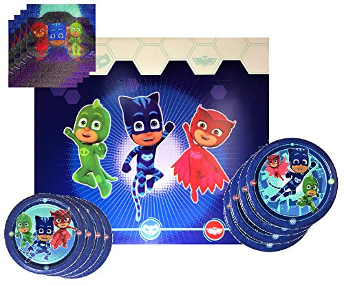 (PJ Mask Party Supplies Tableware Bundle Pack For 16 Guests - Includes 16 Dinner Plates, 16 Dessert Plates, 16 Dinner Napkins, and 1)