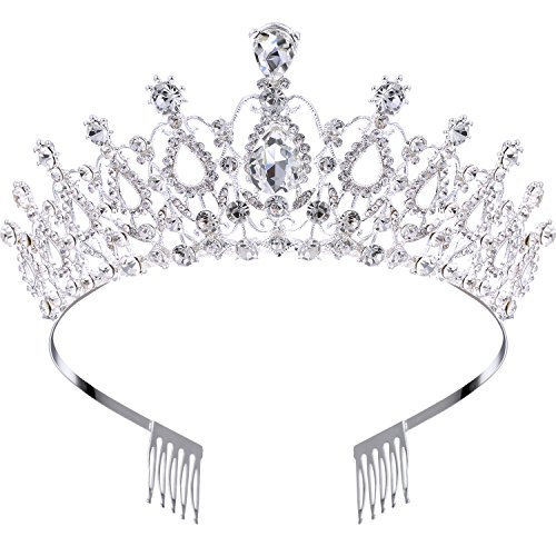 Hicarer Wedding Bridal Crown Rhinestone Crystal Decoration Headband Prom Queen Crown with Comb, Silver]()