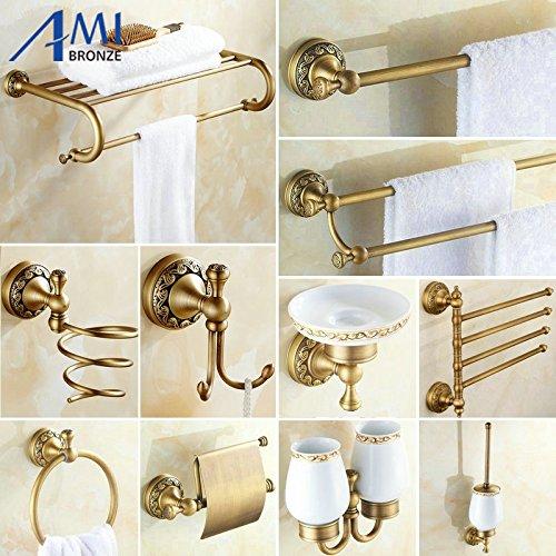 Generic 4 bar only : Antique Brushed Copper Carved Base Bathroom Accessories Bath Towel Shelf Towel Bar Paper Holder Cloth Hook BS02 B0711B44MW