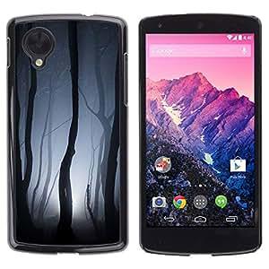 Carcasa Funda Prima Delgada SLIM Casa Case Bandera Cover Shell para LG Google Nexus 5 D820 D821 / Business Style Forest Lights Grey Night Scary