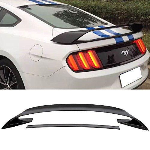 (Pre-Painted Trunk Spoiler Fits 2015-2019 Ford Mustang | GT350 Style Glossy Black ABS Plastic Rear Spoiler Wing Tail Lid Finnisher Deck Lip Other Color available by IKON MOTORSPORTS | 2016 2017)