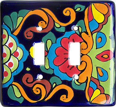 Fine Crafts Imports Rainbow Talavera Ceramic Double Switch Plate