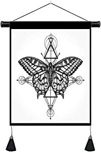 Geometric White and Black Butterfly Tapestry Wall Hanging Musesh Boho Tapestry Geometrical Style Mystical Freedom Art Nature Gothic Tapestry for Living Room Bedroom Home Dorm Decor 18X26In
