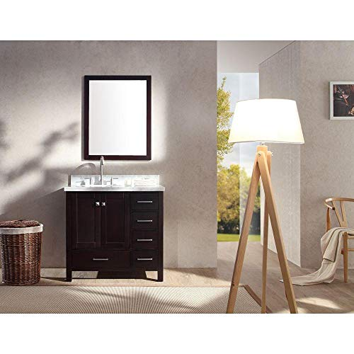 ARIEL Cambridge A037S-L-ESP 37 Inch Single Left Offset Round Oval Sink Plywood Espresso Bathroom Vanity Set with Mirror and 1.5 Inch Edge White Carrara Marble Countertop