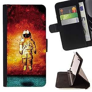 Momo Phone Case / Flip Funda de Cuero Case Cover - Grunge Astronauta Arte;;;;;;;; - Samsung Galaxy Note 4 IV
