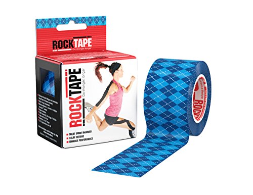 RockTape Original 2-Inch Water-Resistant Kinesiology Tape, 16.4-Foot Continuous Roll, Blue Argyle