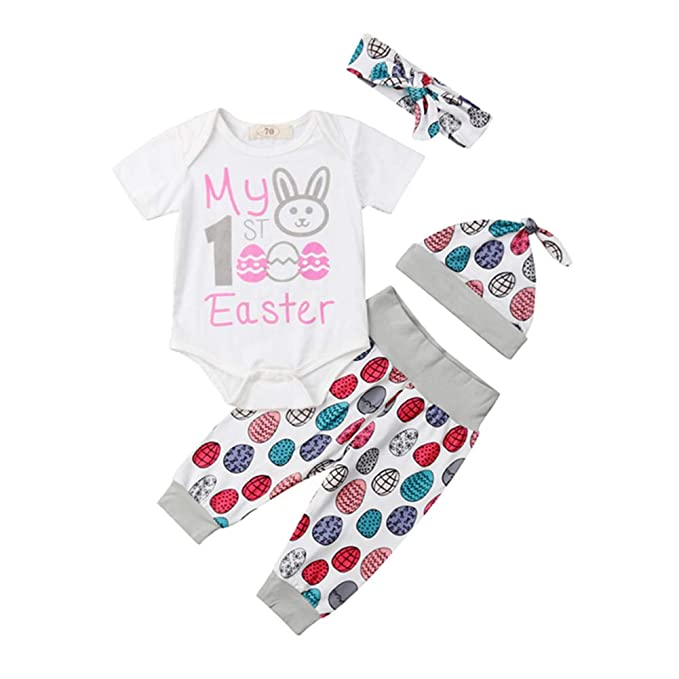 840f5a1cd Newborn Infant My First Easter Outfit Baby Girl Boy Bunny Onesie Bodysuit  Tops+Eggs Pants