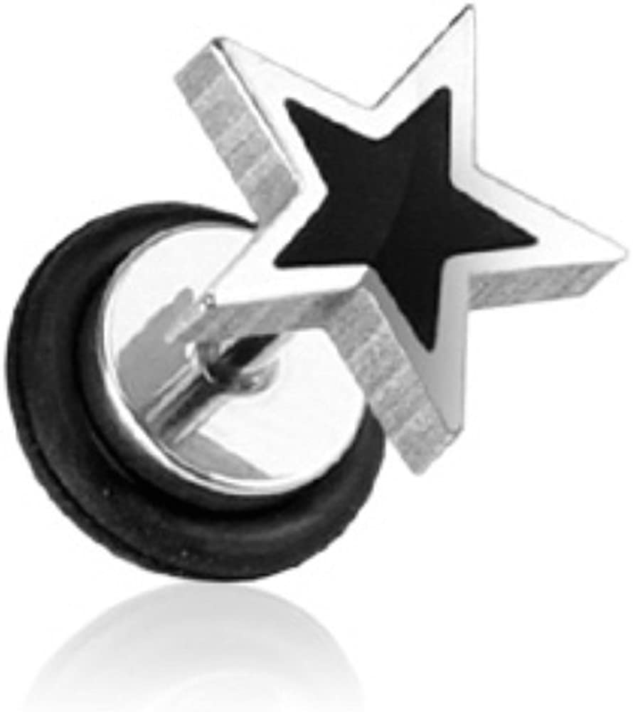 Covet Jewelry Casted Black Star Top Fake Plug 316L Surgical Steel