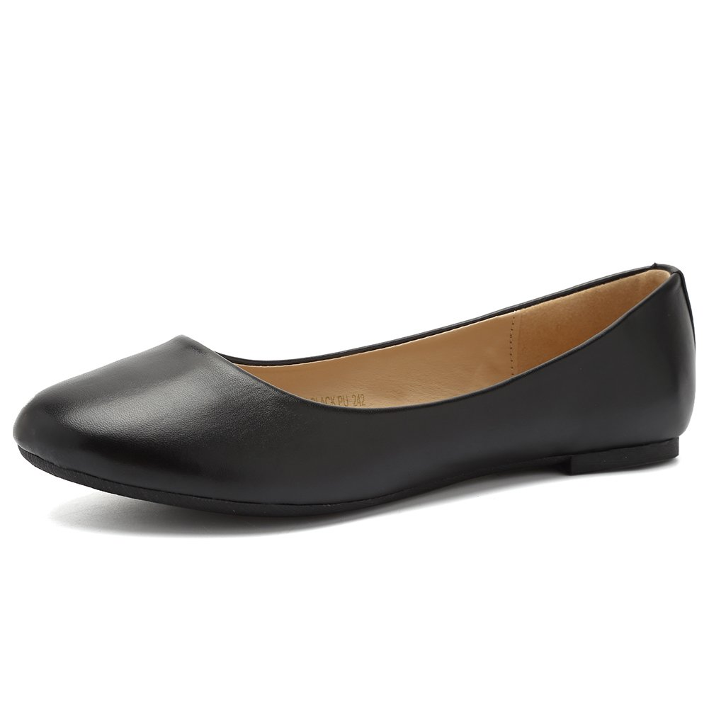 CIOR Women Ballet Flats Classy Girls Simple Casual Slip-on Comfort Walking Shoes from Merence,BlackPu,250,7.5M