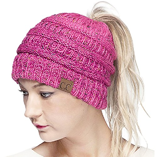 Dress Bubble Ombre (ScarvesMe CC Confetti Ombre Beanietail Ponytail Messy Bun Solid Ribbed Beanie Hat Cap (Bubblegum))