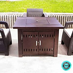 SKEMiDEX--- Fire Pit Table Patio Deck Backyard Heater Fireplace Propane LP Furniture The solid steel construction is incredibly durable and a hammered bronze finish gives it a rustic look