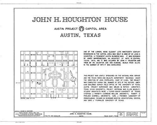 Houghton House - Historic Pictoric Blueprint Diagram HABS TEX,227-AUST,16- (Sheet 1 of 8) - John H. Houghton House, 307 West Twelfth Street, Austin, Travis County, TX 14in x 11in