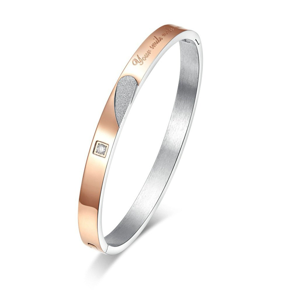 Onefeart Women Men Titanium Bangle Your Smile Make Me Happy with Cubic Zirconia 8MMx58x67MM//6MMx56MMx64MM