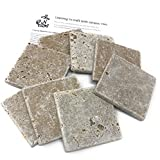 Coaster Tile-tumbled Travertine Porous Craft Tile -4x4 in...