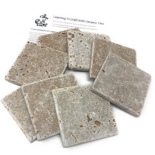 Drink Tile - Coaster Tile-Tumbled Travertine Porous Craft Tile -4x4 in (8 Pieces) with 2 pg Tile Guide Instructions (Walnut)
