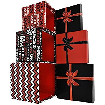 Alef Elegant Decorative Holiday Themed Nesting Gift Boxes -3 Boxes- Nesting Boxes Beautifully Themed and Decorated - Perfect for Gifts or Simple Decoration Around the House! (Christmas Glitz)
