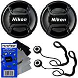 Nikon LC-52 Snap on Front Lens Cap for 18-55mm, 55-200mm, 24mm f/2.8D, 28mm f/2.8D, 35mm f/1.8G, 35mm f/2.0D, 40mm f/2.8G, 50mm f/1.4D, 50mm f/1.8D & 85mm f/3.5G Lenses + Universal Lens Cap Keeper w/ HeroFiber® Ultra Gentle Cleaning Cloth (2 pack)
