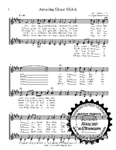 (Amazing Grace  50 copies A capella  SSAA Choral Sheet Music! Acappella music arranged for 4 part female choir or quartet. 50 copies of the song)