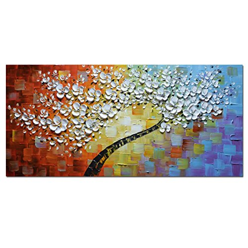 Asdam Art - White Maple Tree Abstract 3D Oil Paintings on Ca