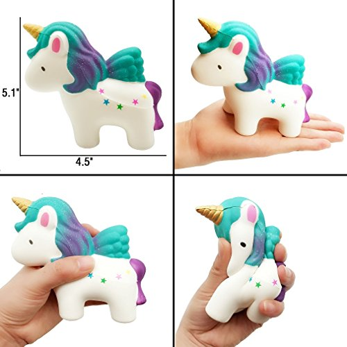 Yonishy Unicorn Squishies Toy Set - Jumbo Narwhale Cake,Unicorn Cake,Unicorn Donut,Dog,Unicorn Horse,Ice Cream Cat Kawaii Slow Rising Squishy Toys for Kids Party Favors(6 Packs) by Yonishy (Image #2)
