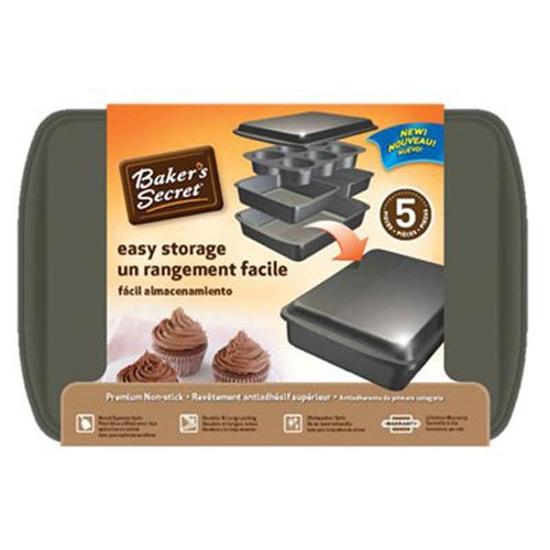 - Baker's Secret 1110526 5-Piece Easy Store Bakeware Set