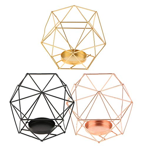 Piece 5 Solitaire Place Setting - 3Pcs 3D Geometric Polished Tealight Candle Holder Wedding Christmas Tabletop
