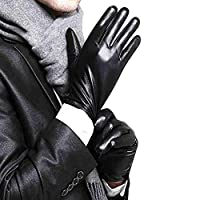 Galapagoz New Leather Gloves Cashmere Full Finger Mens Motorcycle Driving Black Winter Warm Touch Screen US